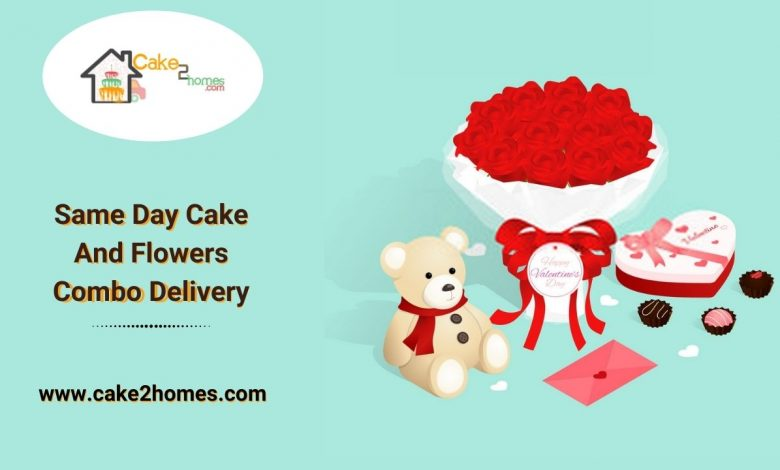 Same Day Cake And Flowers Combo Delivery (1)